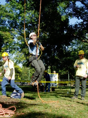 An arborist competes in the Footlock event at our annual Kentucky Tree Climbing Championship. ~ photo by Chris O'Bryan